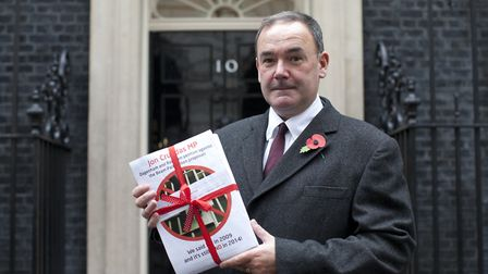 Jon Cruddas delivering a petition to No 10 Downing Street in 2014. Picture: Isabel Infantes.