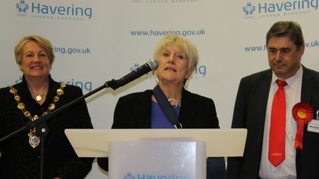 Dame Angela Watkinson speaks after winning the vote in Hornchurch and Upminster with 27,051 votes