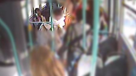 CCTV footage of Rosalin Baker on her phone while on board the 25 bus