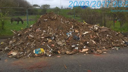 Beattie dumped 36 tonnes of asbestos-contaminated rubble on a street in Beckton. Picture NEWHAM COUN