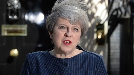 Prime Minister Theresa May makes a statement in Downing Street, London, announcing a snap general el