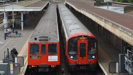The old D-stock train next to a new S-stock one (Picture: James Sadler/@explorethetube)