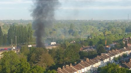 Adrian Hayden photographed the blaze on the A406 this morning.