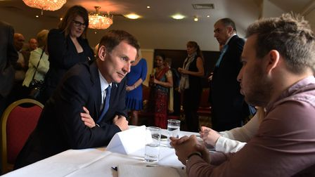 Health Secretary Jeremy Hunt MP talking to Conservative Party Members at the Prince Regent Hotel