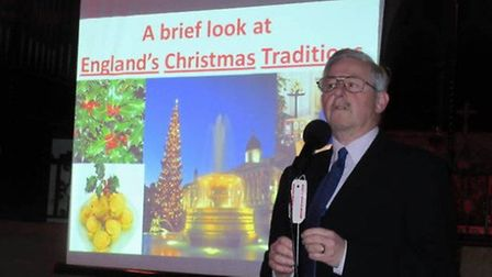 Ilford Historical Society president Jef Page giving a talk
