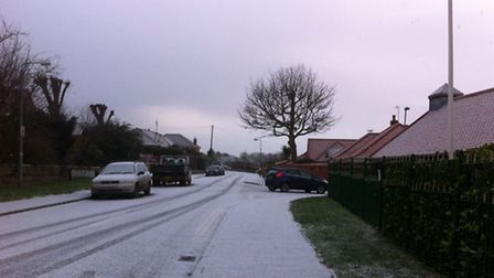 Band of snow works its way across Norfolk. Snow fall in Cromer. Picture: Sabah Meddings