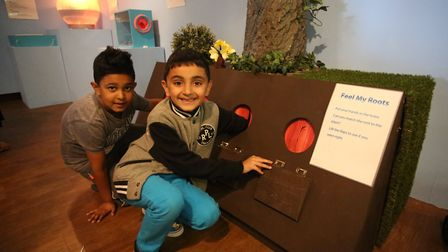 Hassan Ahmed, six, and Mohammed Awan, six, enjoying the previous interactive water exhibition