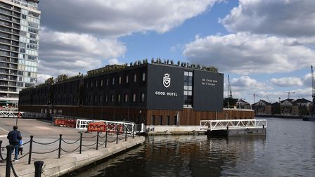 Landmarks around the Royal Victoria Docks in Newham. The Good Hotel