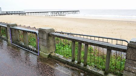Part of the promenade wall near the thatched cottage tea rooms, Lowestoft has been damaged.