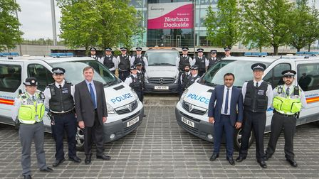 The Mayor of Newham, Sir Robin Wales, and Cllr Forhad Hussain with some of the enforcement partnersh