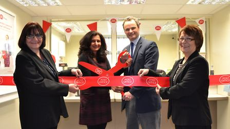 CEREMONIAL CUTTING: Pictured at the new modernised Post Office and Nisa Local store are – from left