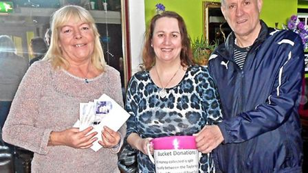 CHARITY DONATION: Karen Read, from the Seagull Theatre, managed to raise £200 for the Taylor High Me