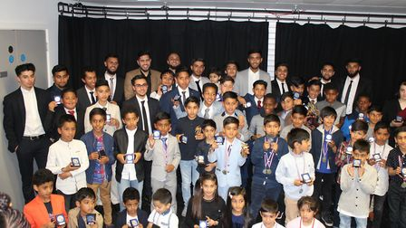 R77 Soccer School face the camera at their annual awards night (pic: R77 Soccer School)
