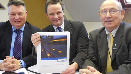 Suffolk County Council leader Mark Bee, Waveney MP Peter Aldous and Waveney District Council leader