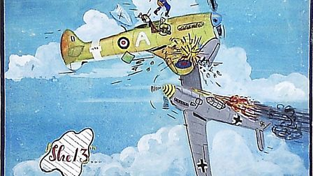 A depiction of Ken Trott's crash during the Second World War. Picture: David Martin.