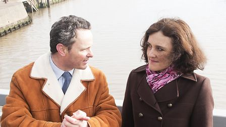 Northern Ireland Secretary of State, Theresa Villiers visits Lowestoft's Bascule Bridge with Local M