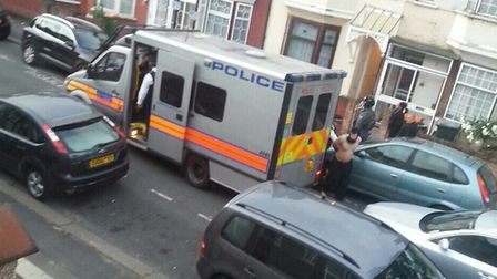 Arrests in Caledon Road, East Ham, this morning