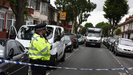 Police at an address on Caledon Road in East Ham in the wake of the London Bridge and Borough Market