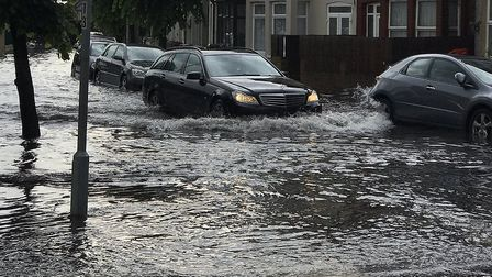 The rain has caused flooding in Browning Road, East Ham. Picture: TWITTER@IlyasAyub1