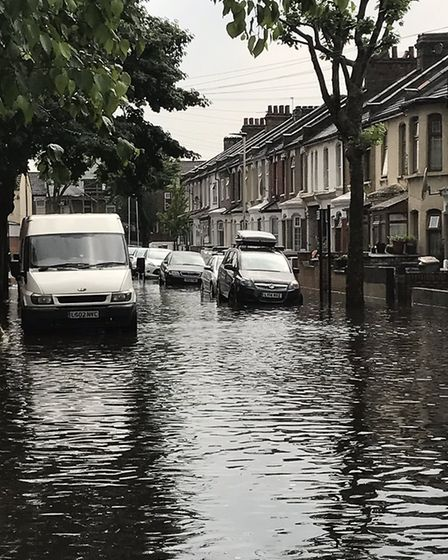 Flooding in Sandringham Road, Forest Gate. Picture: TWITTER@fadge76