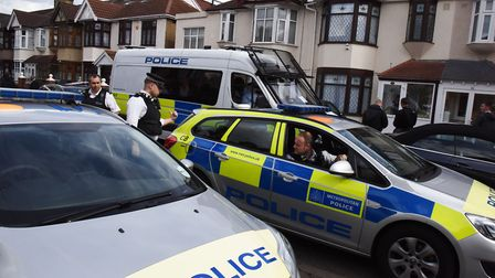 Police searching a house on Fairfield Road in Ilford on Tuesday in the wake of the London terror att