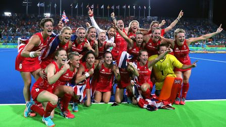 Great Britain celebrate a gold medal in the women's hockey at the Rio Olympics (pic David Davies/PA)