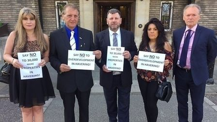 From left, Romford resident Lorraine Moss, Independent Residents Group (IRG) Cllr Keith Roberts, IRG