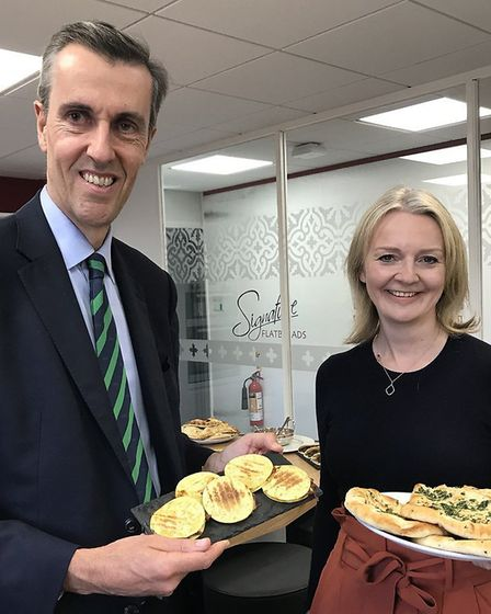 Chief Secretary to the Treasury Liz Truss with naan breads and crumpets. Photograph: Andrew Selous M