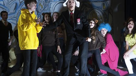 Students from Ormiston Denes Academy in reheasals for school production Seussical the Musical.