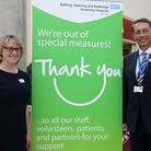 Chief Nurse Kathryn Halford, left, and Chief Executive Matthew Hopkins celebrate after the announcem