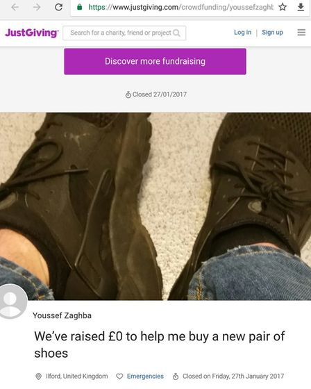 A screen grab showing the JustGiving acount. Photo Ellena Cruse