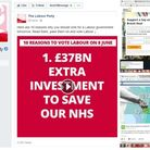 Screen-shots of Facebook 'dark adverts' targeted at voters in Leyton and Wanstead in the last six we