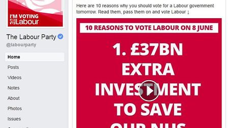 A Labour Facebook dark advert highlights 10 reasons to vote for the party