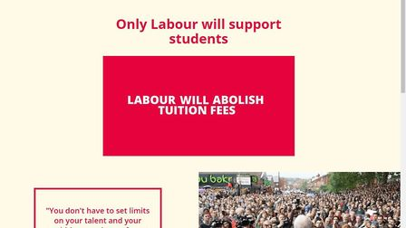 Some of the Labour dark ads promote the party's policy on scrapping tuition fees