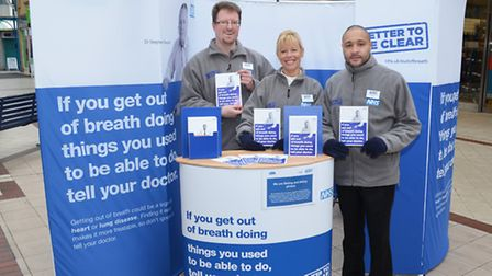 NHS Breathlessness Campaign is highlighted in the Britten Centre in Lowestoft. Picture: MICK HOWES.
