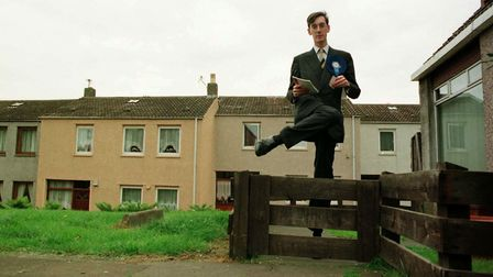 Conservative (Tory) MP Jacob Rees-Mogg canvassing during the General Election. Photo by Colin McPher