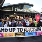 The vigil at Stratford Station for cousins Jameel Muhktar and Resham Khan who were attacked with aci