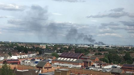 Thick black smoke from the Salamons Way fire in Rainham, can be seen from the Recorder offices in Ba