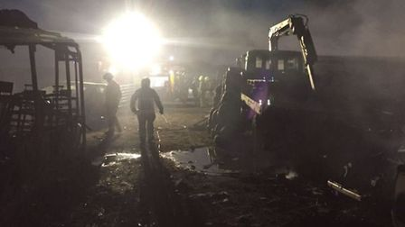 Firefighters tackled a blaze at a scrap yard in Dennises Lane, South Ockendon last night. Picture: E