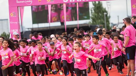 Youngsters set off on a 2k fun run at the Go Run For Fun event at the Olympic Park