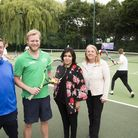 Centre left to right: John Golding (Lawn Tennis Association) and Councillor Naheed Asghar (Cabinet M