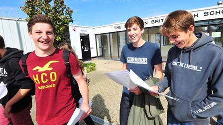Youngsters collect GCSE results at Benjamin Britten high School, Lowestoft.Rhys Poffley, Sam Riely a