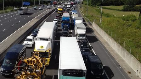 M25 tailback following collision between junction 29 and 30. Picture: Colin Seabrook.