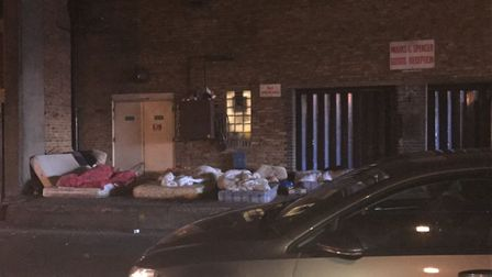 Homeless camp on Havelock Street in Ilford
