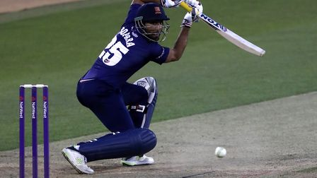 Essex's Ravi Bopara hits out during the NatWest T20 Blast match against Surrey (Pic Simon Cooper/PA)