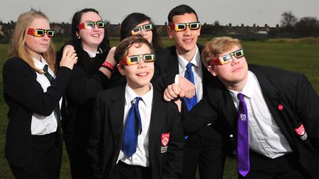 Students from Ormiston Denes Academy, Lowestoft look for the Partial Eclipse with special glasses. P