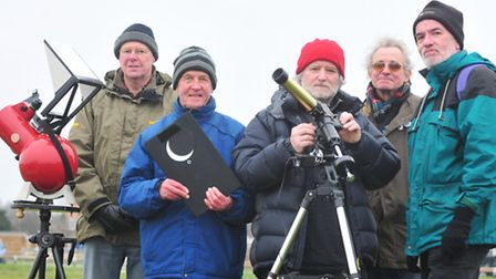 Members from Lowestoft and Yarmouth regional astronomers gather on Kirkley Cliff.(Left to right) Ste