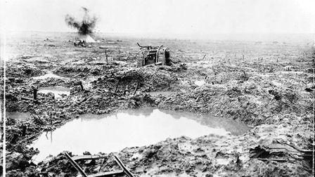 Derelict Tank in badly shelled mud area, 1917. Picture: Library and Archives Canada/Wikimedia Common