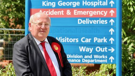 Ilford South MP Mike Gapes outside King George Hospital's A&E. Mike has been battling to save the A&