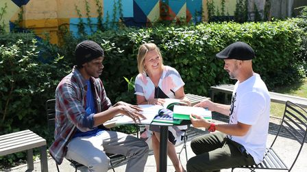 Cieren Morgan, Debbie Pitchfork and Sergio Carvaliho study for the New Beginnings intensive course (